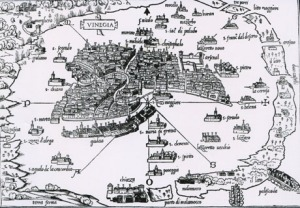 1528 - Mapa da Lagoa Veneta - Benedetto Bordone